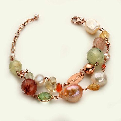 Bracciale quarzi multicolor e perle coltivate