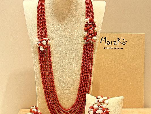 Corallo bamboo rosso, corallo sardo e perle coltivate