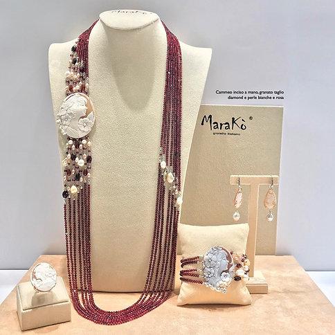 Gioielli Cammeo inciso a mano, granato diamond e perle - Pezzi Unici