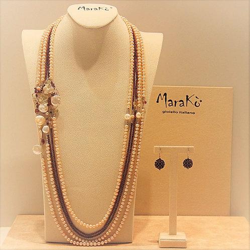 Gioielli perle rosa e bianche coltivate, granato diamond e quarzo citrino