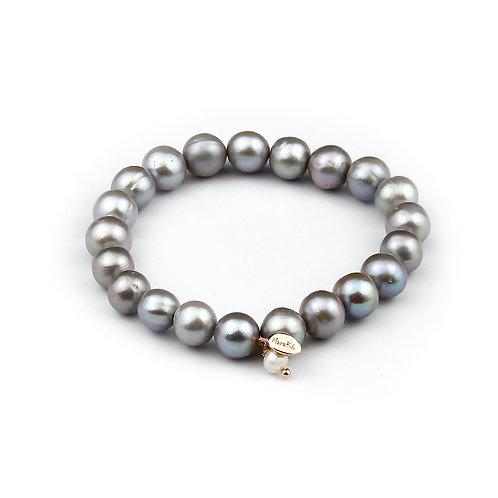 Bracciale elastico perle grigie coltivate 10 mm