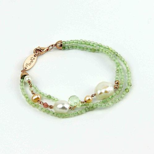 Bracciale quarzo rutilato verde chiaro diamond e perle - Collezione Waterlily