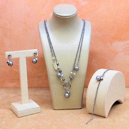 Gioielli ematite galvanizzata e perle Maiorca - Collezione Le Meline