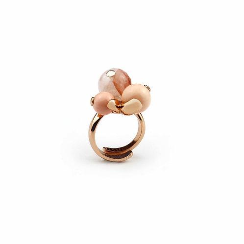 Anello corallo bamboo rosa e quarzo cipria - Modello 3 Sfere