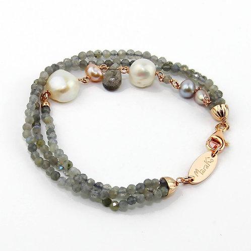 Bracciale labradorite diamond e perle - Collezione Waterlily