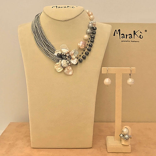 Gioielli ematite, perle e argento