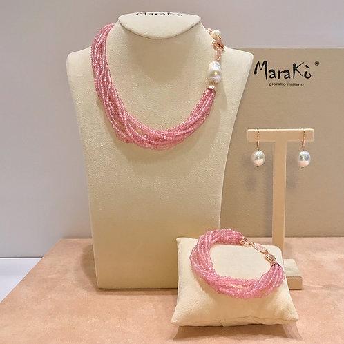 Gioielli quarzo rosa diamond e perle coltivate