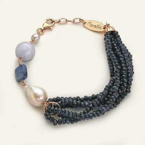 Bracciale agata blu zaffiro, calcedonio, cianite e perle