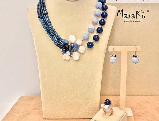 Agata blu, calcedonio, cianite e perle coltivate