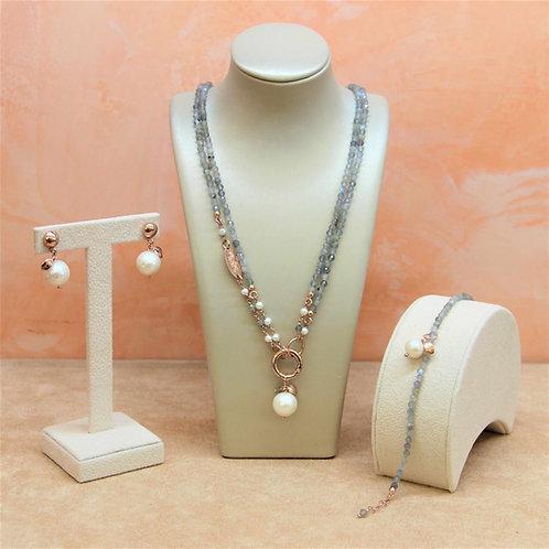 Gioielli labradorite diamond e perle bianche coltivate - Collezione Le Meline