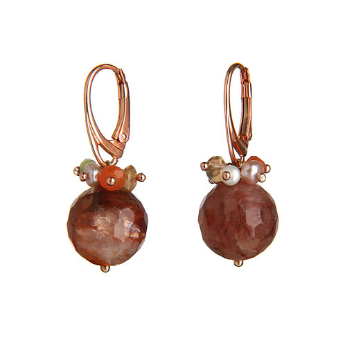 Orecchini quarzo cipria, quarzi multicolor e perle