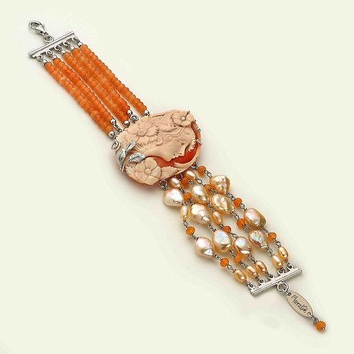 Bracciale Cammeo inciso a mano, agata arancione e perle - Pezzi Unici