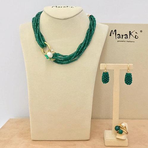 Gioielli agata verde smeraldo e perle coltivate