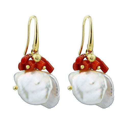 Orecchini corallo rosso e perle Keshi - Collezione Waterlily