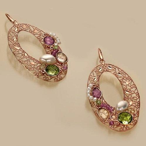 Orecchini ovali traforati ametista, ametista verde, quarzo citrino e perle
