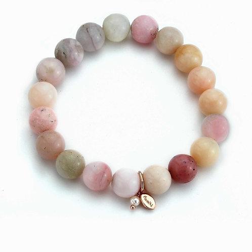 Bracciale elastico opale rosa
