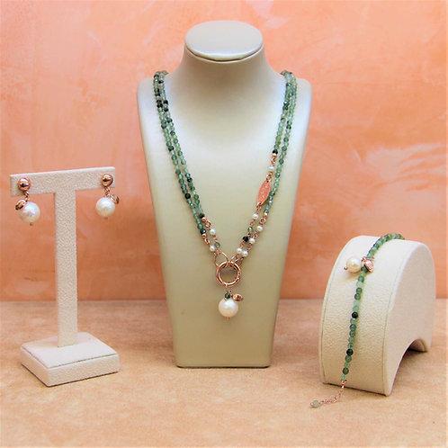 Gioielli quarzo rutilato verde scuro diamond e perle - Collezione Le Meline