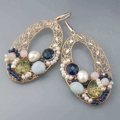 Orecchini ovali traforati agata blu zaffiro e acquamarina multicolor