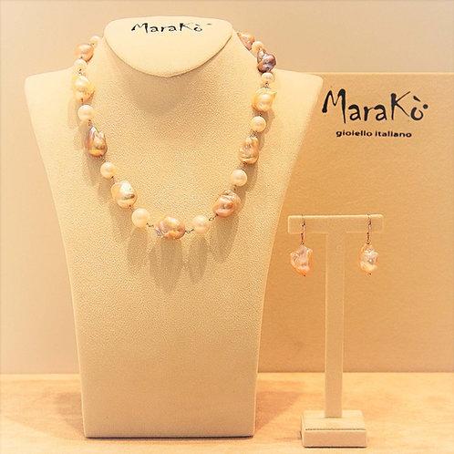 Gioielli perle barocche rosa e perle bianche coltivate