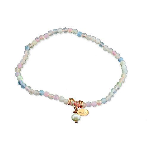 Bracciale elastico acquamarina multicolor diamond