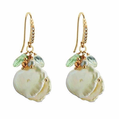 Orecchini quarzi verdi e perle Keshi - Collezione Waterlily