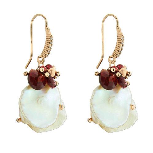 Orecchini granato e perle Keshi - Collezione Waterlily