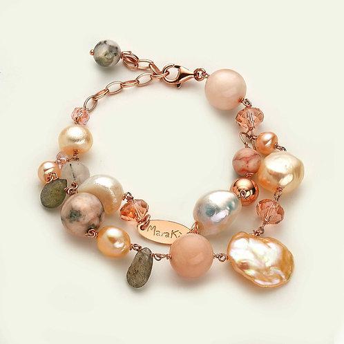 Bracciale a due fili - diaspro, opale rosa, labradorite e perle coltivate