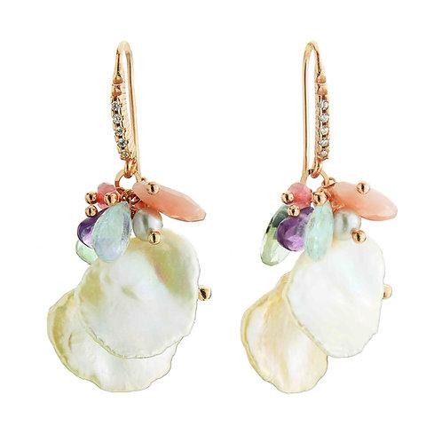 Orecchini multicolor con perle Keshi - Collezione Waterlily