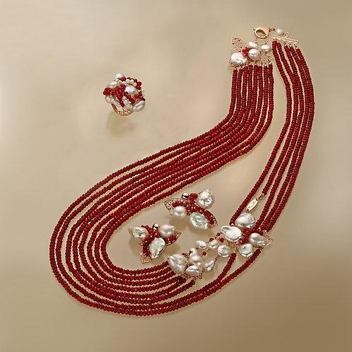 Agata ruby e perle bianche coltivate