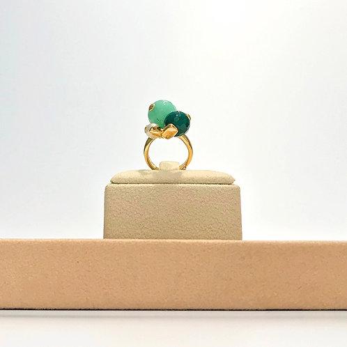 Anello perla coltivata, giada criso e agata verde smeraldo - Modello 3 Sfere