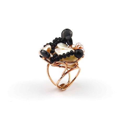 Anello agata nera e perle coltivate
