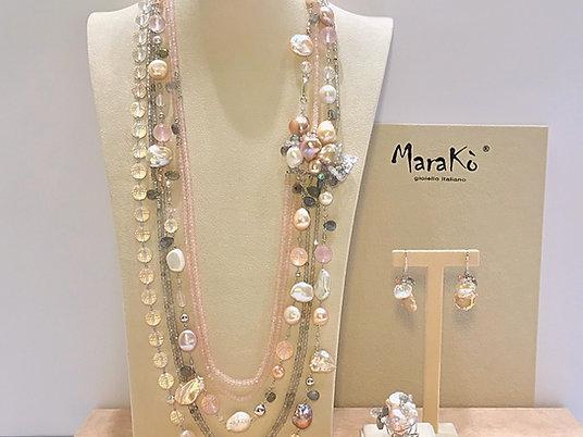 Gioielli quarzo rosa, labradorite e perle coltivate - Pezzi Unici