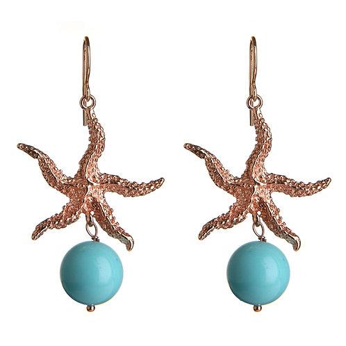 Orecchini stella marina - turchese 4 fiori