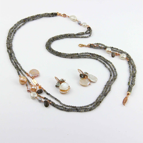 Gioielli labradorite diamond e perle - Collezione Waterlily