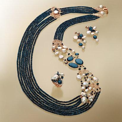 Agata blu zaffiro e perle bianche coltivate