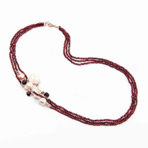 Collana granato diamond e perle - Collezione Waterlily