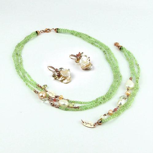 Gioielli quarzo rutilato verde chiaro diamond e perle - Collezione Waterlily