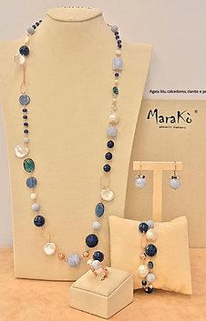 Gioielli agata blu, calcedonio, cianite e perle coltivate