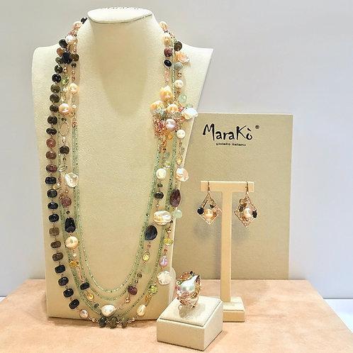 Gioielli tormaline, quarzi e perle coltivate - Pezzi Unici