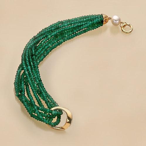 Fascia agata verde smeraldo