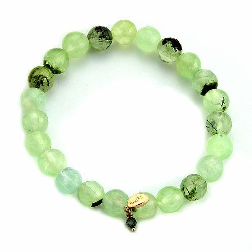 Bracciale elastico quarzo rutilato verde