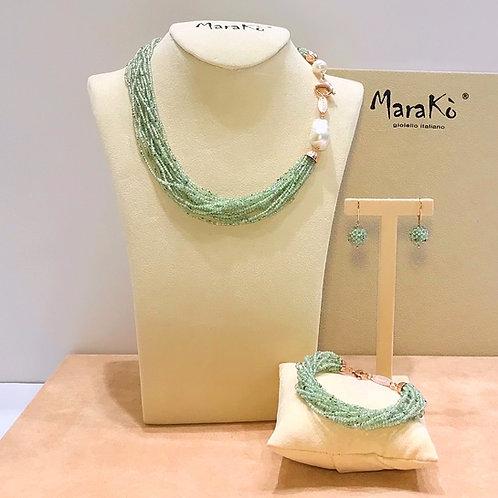 Gioielli quarzo verde rutilato diamond e perle coltivate