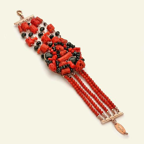 Bracciale corallo rosso, corallo bamboo e agata nera
