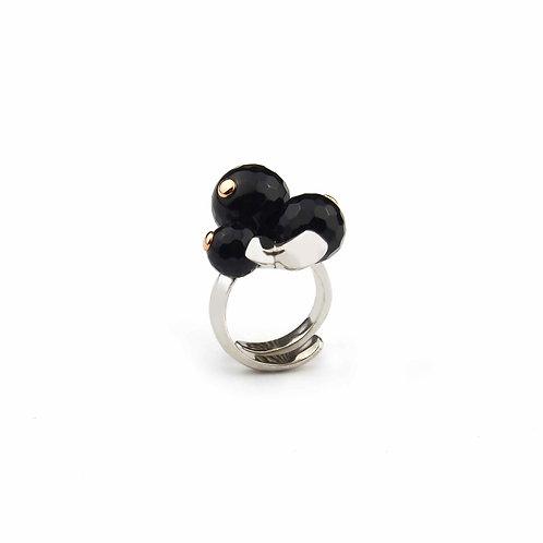Anello agata nera - Modello 3 Sfere