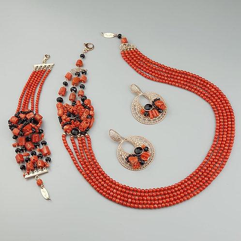 Gioielli corallo rosso e agata nera