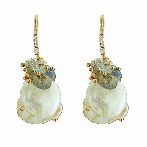 Orecchini acquamarina, labradorite e perle Keshi - Collezione Waterlily
