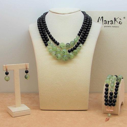 Gioielli quarzo rutilato verde e agata nera - Collezione Capricci