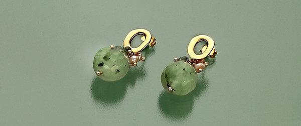 Orecchini quarzo rutilato verde e perle rosa coltivate