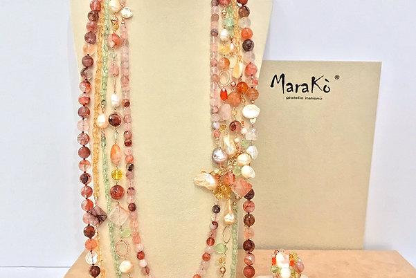 Gioielli quarzi multicolor e perle coltivate - Pezzi Unici