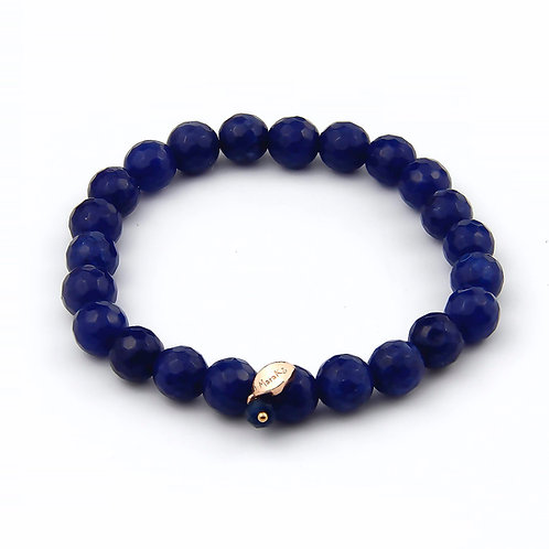 Bracciale elastico agata blu